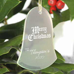 Personalized Beveled Glass Ornament - Bell Shape | JDS