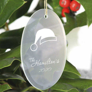 Personalized Beveled Glass Ornament - Oval Shape | JDS