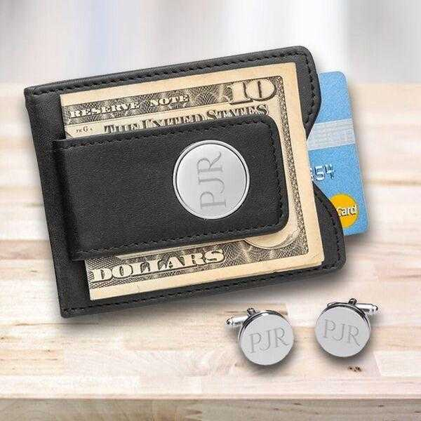 Personalized Black Leather Money Clip & Pin Stripe Cuffllinks Gift Set | JDS