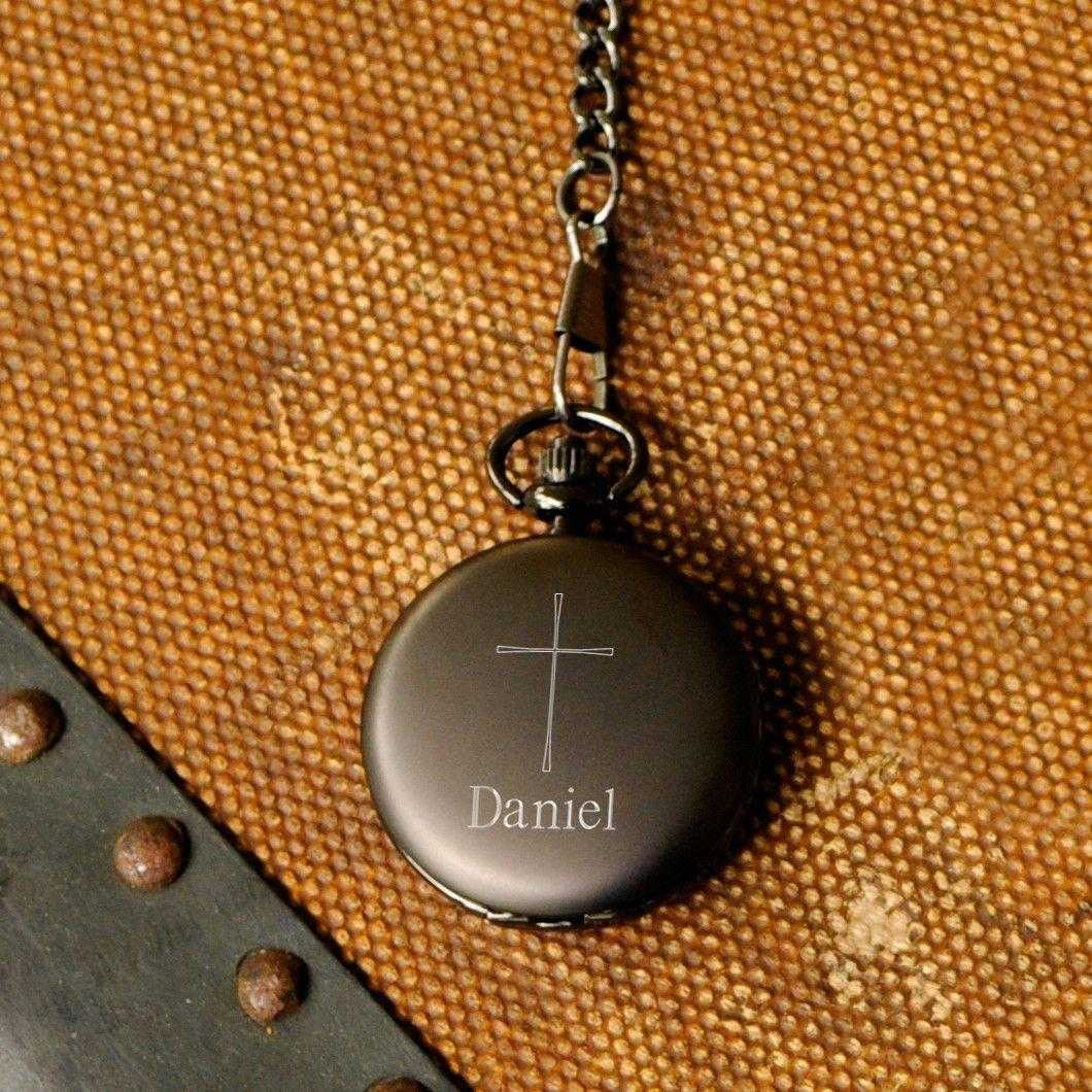 Engraved Pocket Watch - Engraved Cross - Inspirational - Confirmation Gifts | JDS