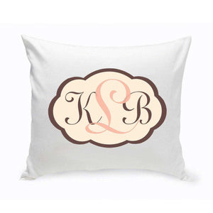 Personalized Monogrammed Baby Pink and Brown Chevron Throw Pillow | JDS