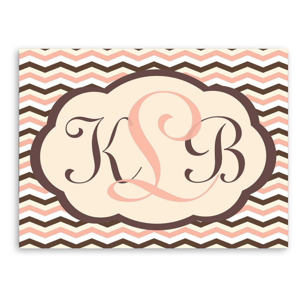 Personalized Baby Pink and Brown Chevron Canvas Sign | JDS