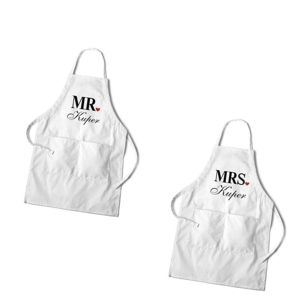 Personalized Couples White Apron Set | JDS