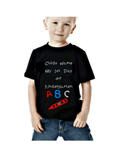 Load image into Gallery viewer, Your Child's Name My First Day of Kindergarten Personalized T-Shirt | DG Custom Graphics