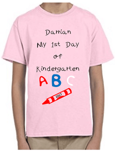 Your Child's Name My First Day of Kindergarten Personalized T-Shirt | DG Custom Graphics