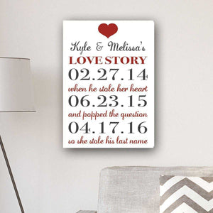 Personalized Our Love Story Canvas Print | JDS