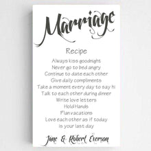Load image into Gallery viewer, Personalized Marriage Recipe Canvas Print