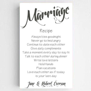 Personalized Marriage Recipe Canvas Print