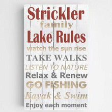 Load image into Gallery viewer, Personalized Lake House Rules Canvas Print | JDS
