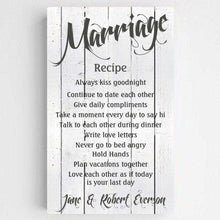 Load image into Gallery viewer, Personalized Marriage Recipe Canvas Print | JDS