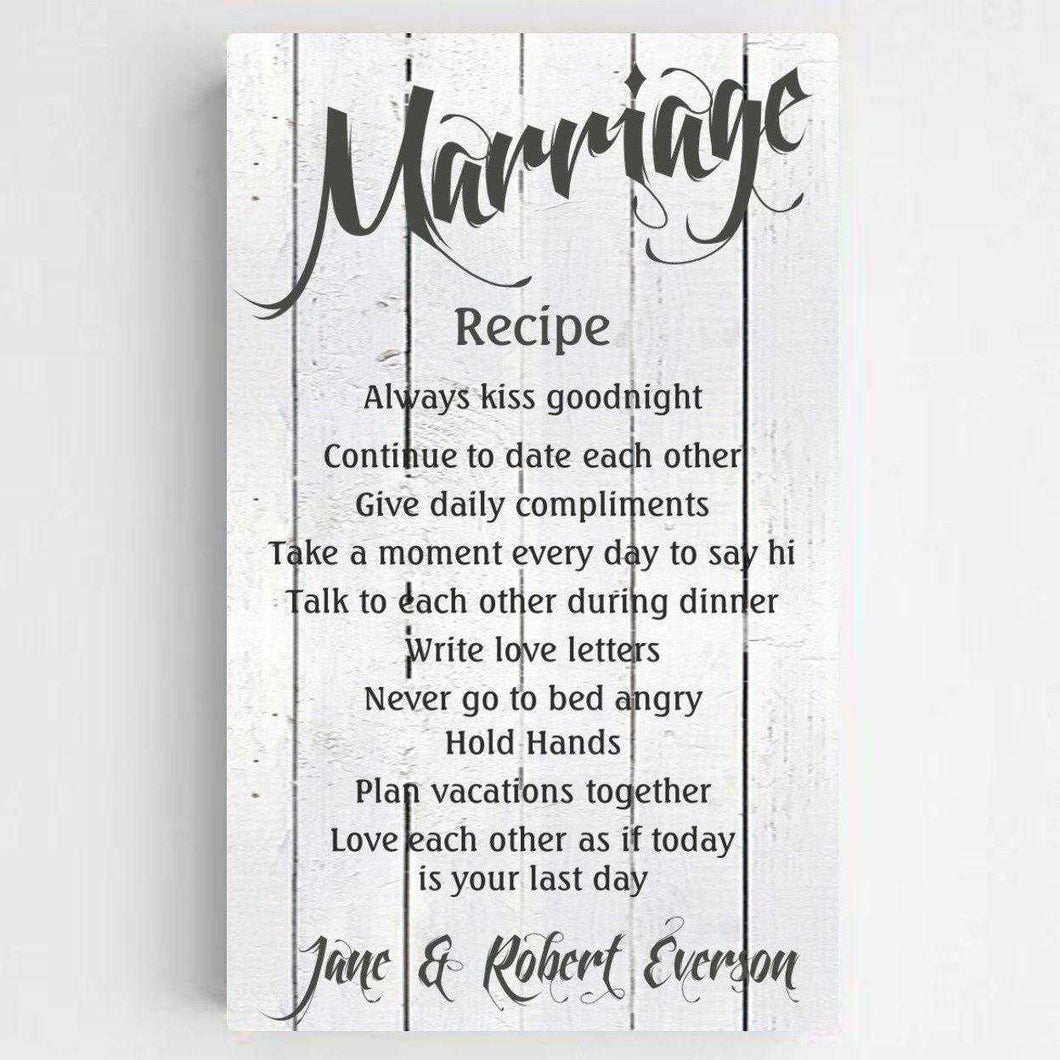 Personalized Marriage Recipe Canvas Print | JDS