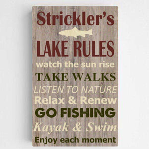 Personalized Lake House Rules Canvas Print | JDS