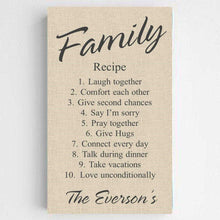 Load image into Gallery viewer, Personalized Family Recipe Canvas Sign | JDS