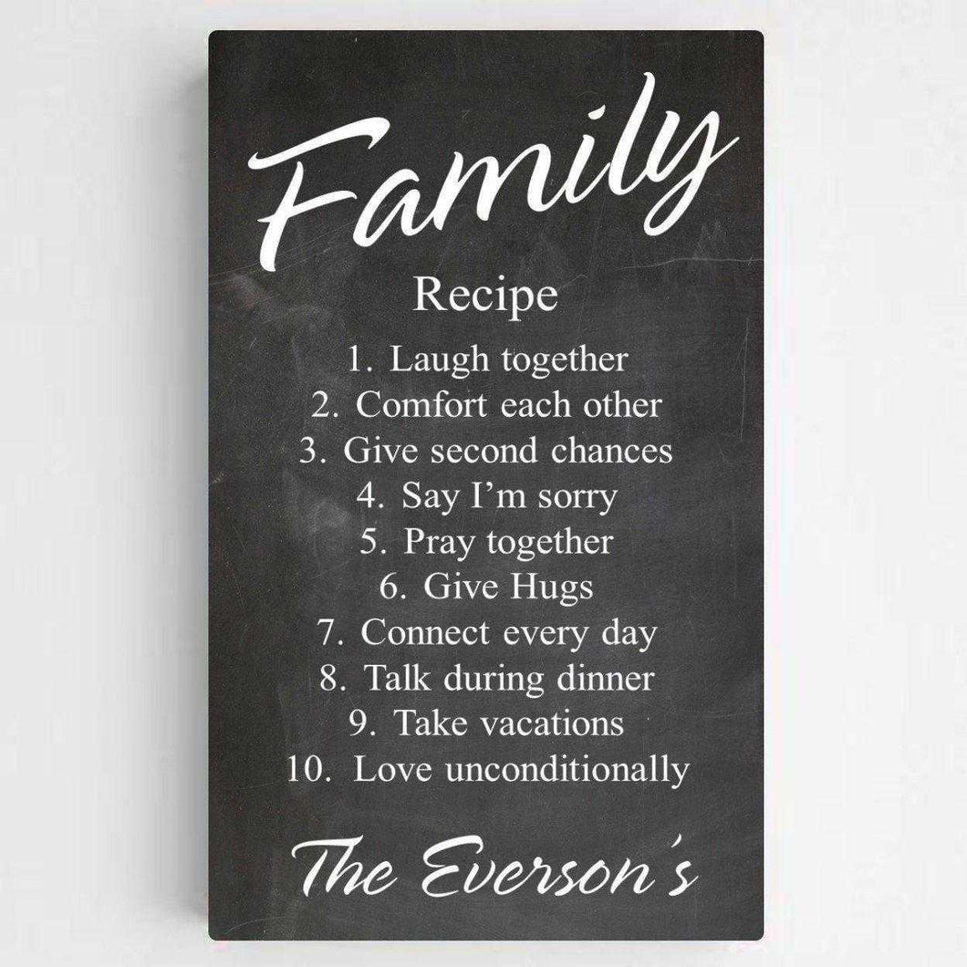 Personalized Family Recipe Canvas Sign | JDS