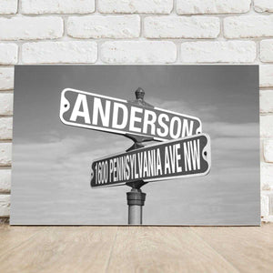Personalized Signs - Intersection Street Sign - Canvas - Black and White | JDS