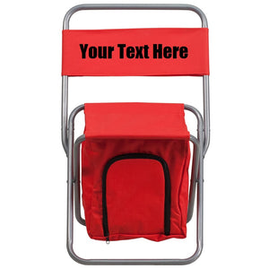 Custom Personalized Folding Camping Chair with Insulated Storage