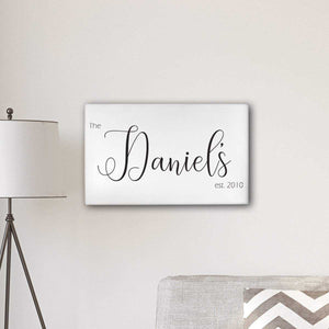 "Personalized Last Name Modern Farmhouse 14"" x 24"" Canvas 