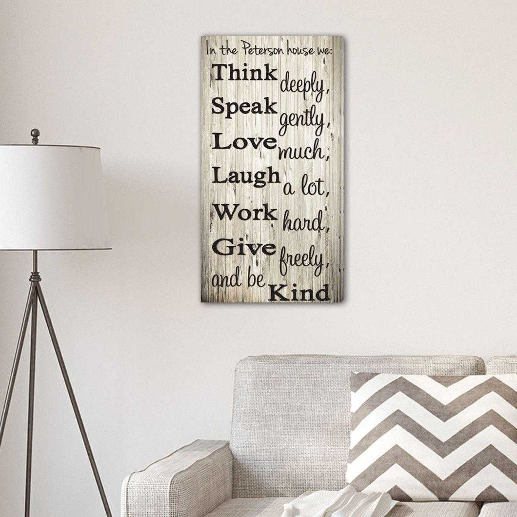 Think Speak Love Personalized Canvas Print | JDS