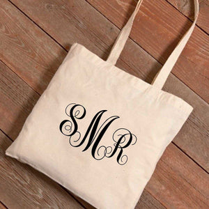 Personalized Interlocking Monogram Canvas Tote Bag | JDS