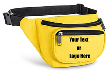 Load image into Gallery viewer, Custom Personalized 3 Zippered Compartments Adjustable Waste Sport Fanny Pack