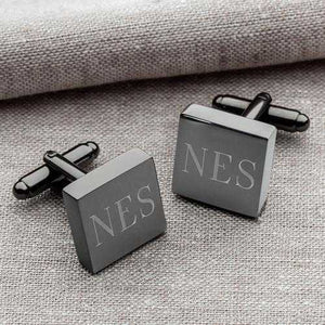 Personalized Cufflinks - Gunmetal - Square - Groomsmen Gifts | JDS