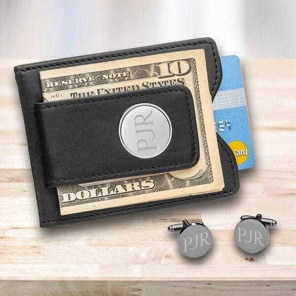 Personalized Gunmetal Cufflinks and Money Clip Gift Set | JDS