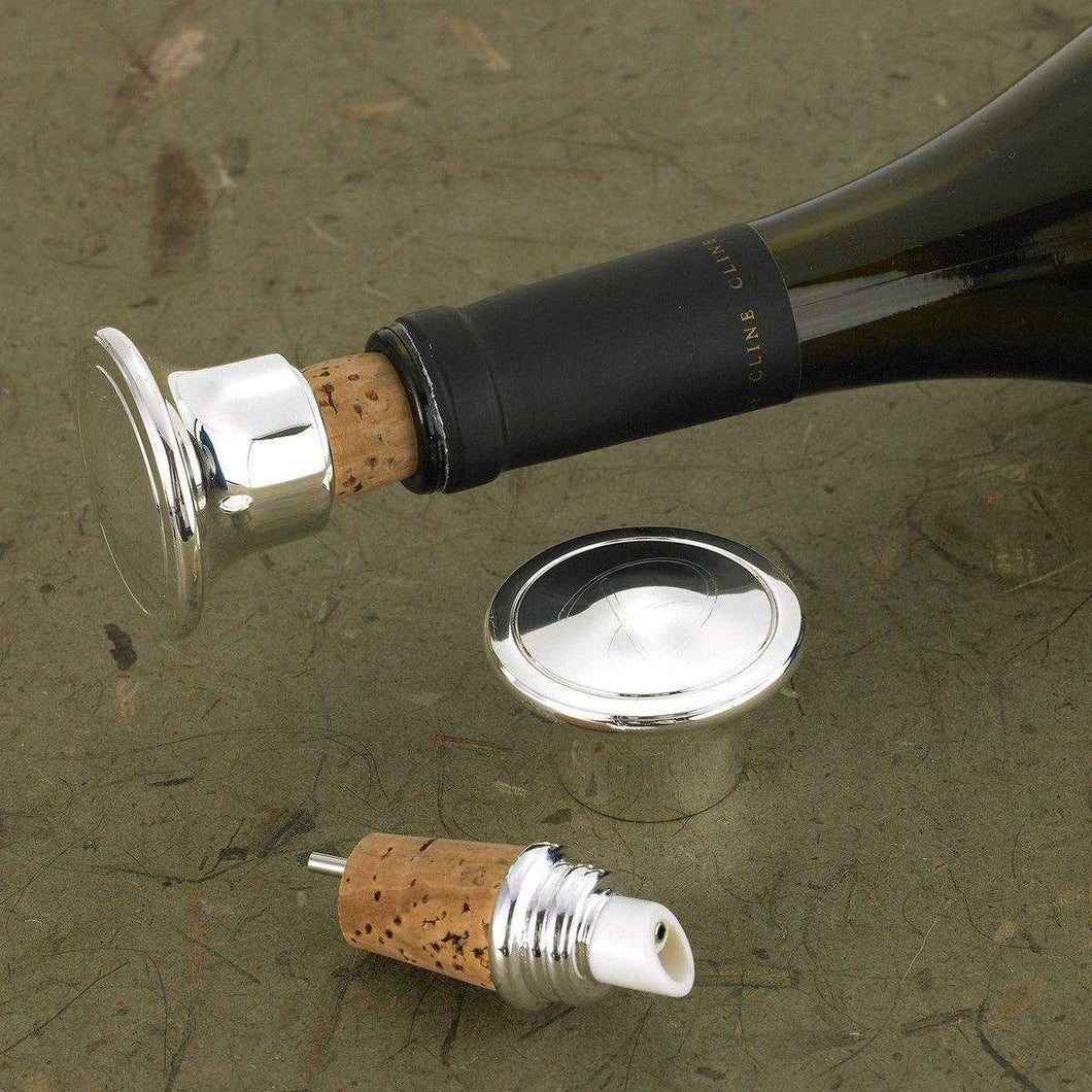 Personalized Wine Bottle Stopper - Wine Pourer - Silver Plated | JDS