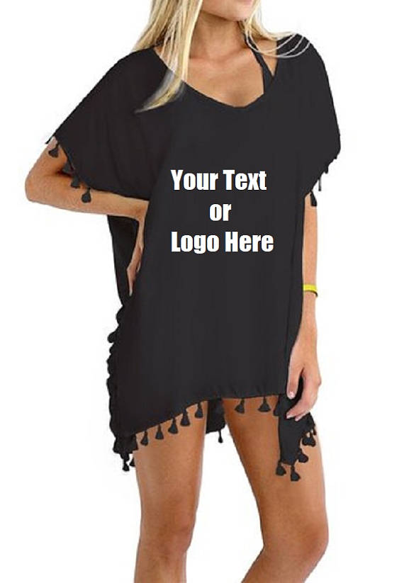 Custom Personalized Designed Women's Chiffon Tassel Beachwear Bikini Swimsuit Cover up