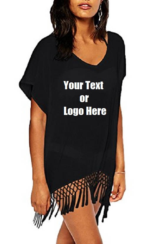 Custom Personalized Designed Women's Bohemia Printing Top Beach Bikini Cover-ups
