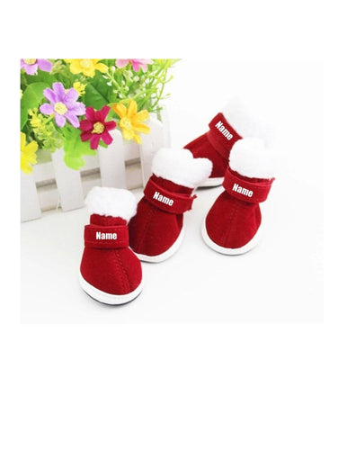 Custom Personalize Design Your Puppy Dog Christmas Shoes Booties Boots (pet Clothing) | DG Custom Graphics