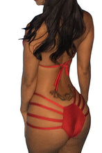 Load image into Gallery viewer, Custom Personalized Designed Women's Bandage Halter Cross Two Piece Bathing Swim Suit