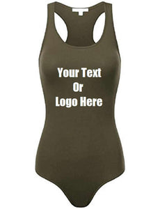 Custom Personalized Designed Womens Basic Solid Soft Stretchy Tank Top Bodysuit