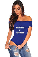 Load image into Gallery viewer, Custom Personalized Designed Women Off The Shoulder Top Short Sleeve Bodysuit | DG Custom Graphics