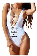 Load image into Gallery viewer, Custom Personalized Designed One Piece Lace Up Bathing Swim Suit | DG Custom Graphics