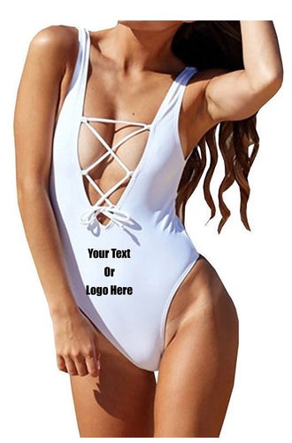 Custom Personalized Designed One Piece Lace Up Bathing Swim Suit