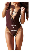 Load image into Gallery viewer, Custom Personalized Designed One Piece Lace Up Bathing Swim Suit