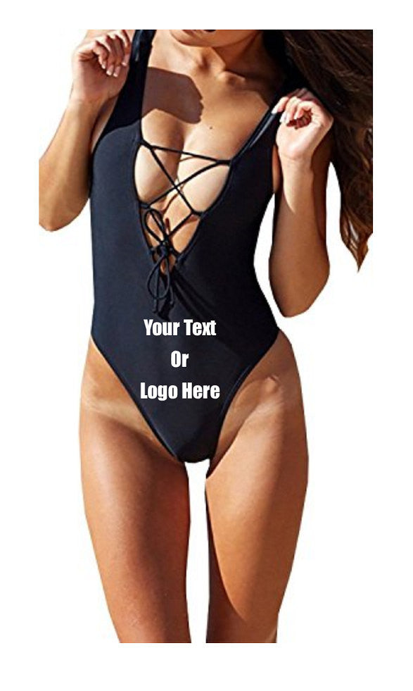 Custom Personalized Designed One Piece Lace Up Bathing Swim Suit | DG Custom Graphics