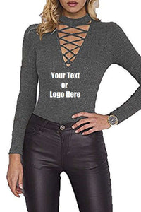 Custom Personalized Designed Women Choker V Neck Long Sleeve Bodysuit