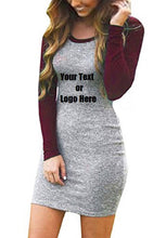 Load image into Gallery viewer, Custom Personalized Designed Women's Color Block Long Sleeve Bodycon Tshirt Dress | DG Custom Graphics