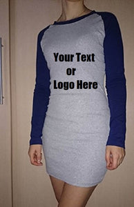 Custom Personalized Designed Women's Color Block Long Sleeve Bodycon Tshirt Dress | DG Custom Graphics