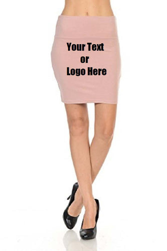 Custom Personalized Designed Women's Solid High Waist Stretch Cotton Span Mini Skirt | DG Custom Graphics