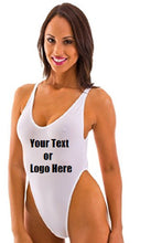 Load image into Gallery viewer, Custom Personalized Designed Sexy Backless Thong One Piece Bathing Swim Suit