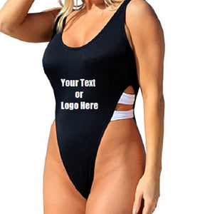 Custom Personalized Designed One Piece High Cut Bathing Swim Suit