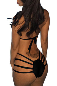 Custom Personalized Designed Women's Bandage Halter Cross Two Piece Bathing Swim Suit