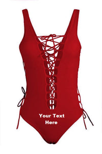 Custom Personalized Designed Women's One Piece Front Lace Up Bathing Swim Suit | DG Custom Graphics