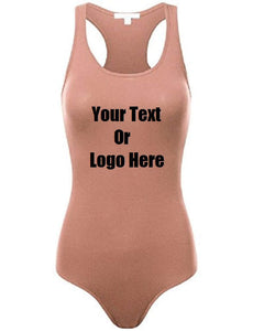 Custom Personalized Designed Womens Basic Solid Soft Stretchy Tank Top Bodysuit | DG Custom Graphics