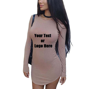 Custom Personalized Designed Womens Long Sleeve Soft Lining Bodycon T-shirt Mini Dress