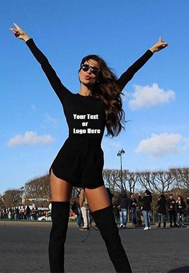 bb4b0e474d7a ... Load image into Gallery viewer, Custom Personalized Designed Womens  Long Sleeve Soft Lining Bodycon T ...