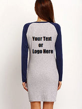 Custom Personalized Designed Women's Color Block Long Sleeve Bodycon Tshirt Dress