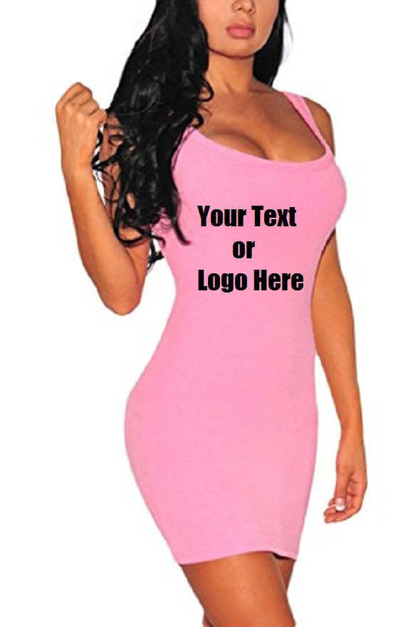 Custom Personalized Designed Women's Summer Classic Scoop Neck Sleeveless Bodycon Mini Tank Dress